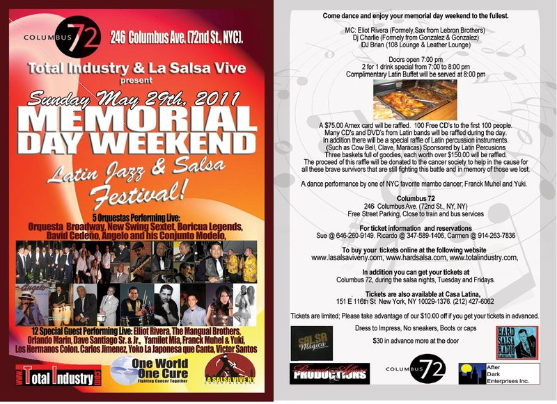 Latin Jazz Festival May 29 2011 Flyer Front and Back